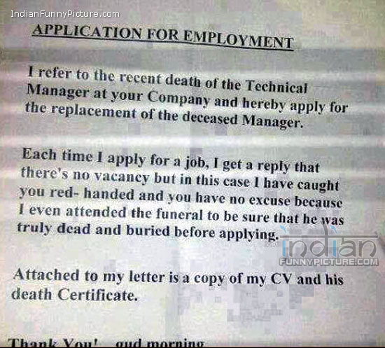 Application for employment letter
