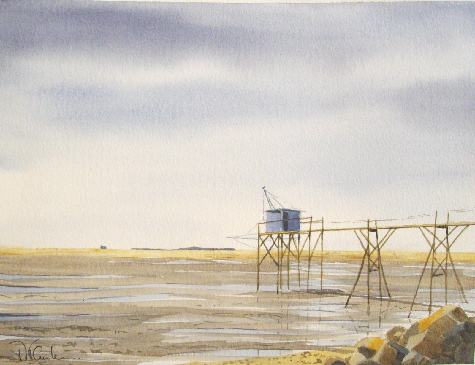 marc vanhamme aquarelles huiles et dessins p che au carrelet en charente maritime 31 cm x. Black Bedroom Furniture Sets. Home Design Ideas