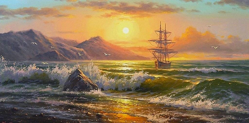 cuadros-de-paisajes-marinos-al-atardecer