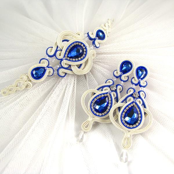 Soutache ślubny - chabrowe kolczyki i bransoletka z kryształami i cyrkoniami.