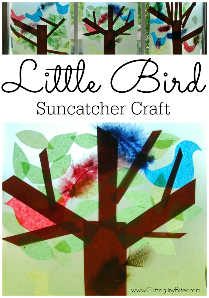 Little Bird Suncatcher Craft for Kids.  Simple fine motor activity, great for toddler or preschool tree, bird, or spring theme unit.