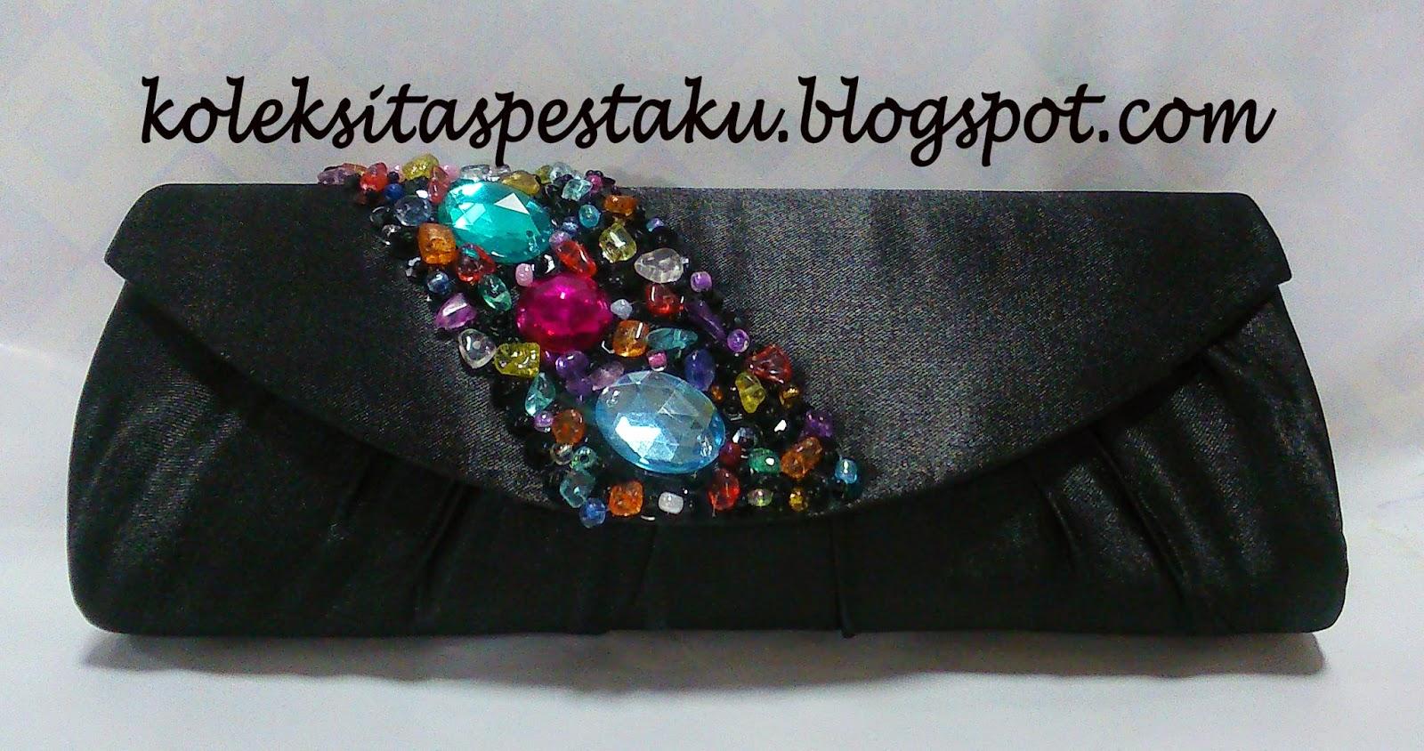 Model Terbaru dan Mewah Tas Pesta Cantik Hitam Payet Warna warni
