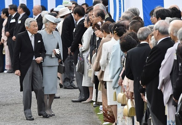 Japanese Crown Prince Naruhito and Crown Princess Masako, Prince Akishino, Princess Kiko and Princess Mako attend the annual autumn garden party hosted by Japanese Emperor Akihito and Empress Michiko at the Akasaka Palace
