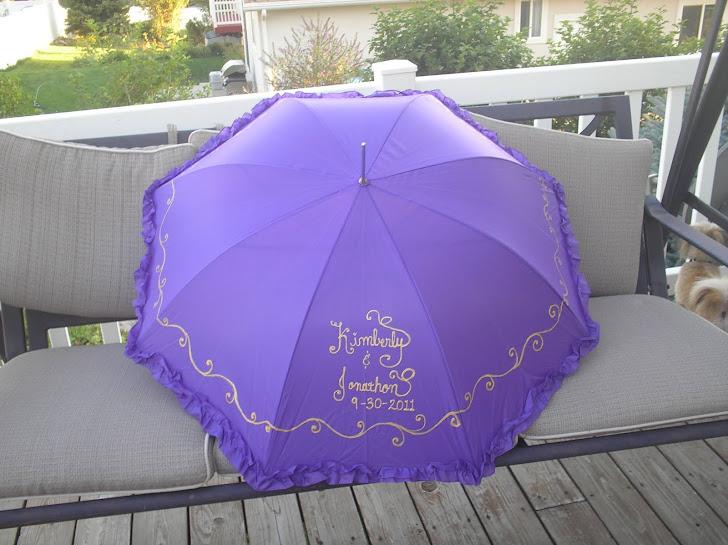 """purple """"red hat"""" wedding parasol"""