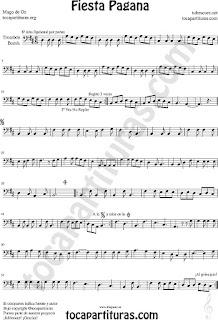 Partitura de Fiesta Pagana para Trombón y Bombardino en clave de Fa Mago de Oz Sheet Music for trombone and euphonium Fiesta Pagana