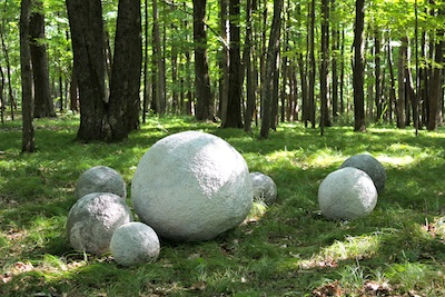 Cement Balls Rolled Into Place With Garden Orbs.