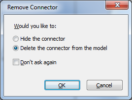 opcje usunięcia relacji (connector)