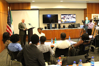 US Ambassador James Entwistle making remarks at the 2015 YALI predeparture in Abuja - Photo Credit U.S. Embassy/Idika Onyukwu