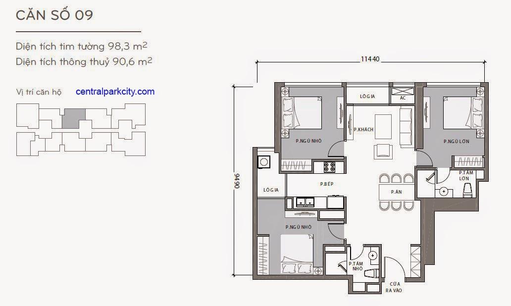 Căn hộ Landmark 1 - kiểu nhà số 09 - 98.3m2 - 3PN