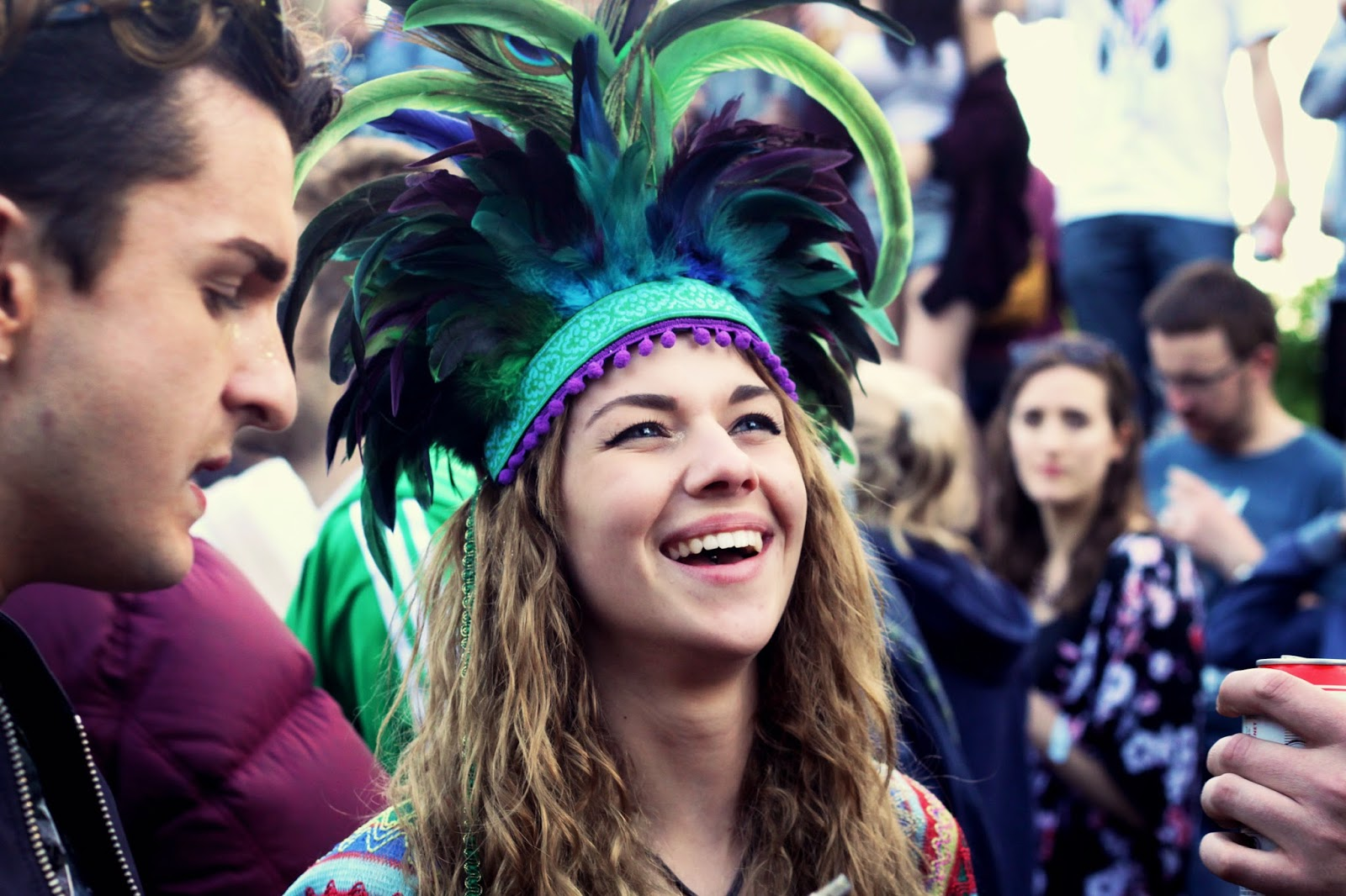 Dulcie's Feathers, festival style, feather headdress, Love Saves the Day, Bristol