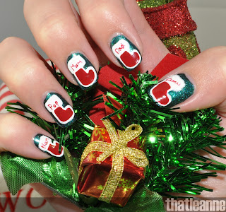 thatleanne holiday nail art stockings