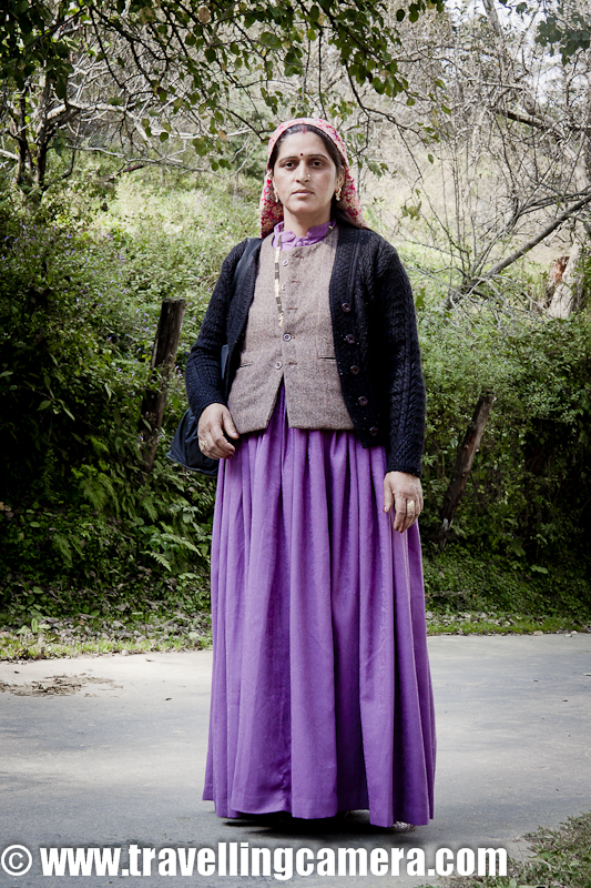 During my recent trip to Himachal Pradesh, we were roaming around some villages in Narkanda region and having lunch on roadside. This lady was walking through the side-by road and I really liked her dress. I requested one of my friend to ask her in local language that if we could click one photograph. She happily agreed and I was delighted to have a shot of this lovely dress called 'Reshta' !!!