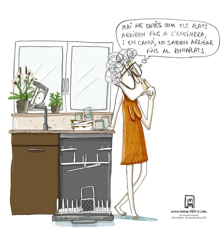 Els plats i el rentaplats. Nova il·lustració per les vinyetes del còmic Del pais dels coixos. ©Imma Mestre Cunillera