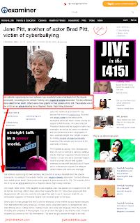 Examiner.com Screenshot of Jane Pitt and Jive in the (415) news story jiveinthe415.com