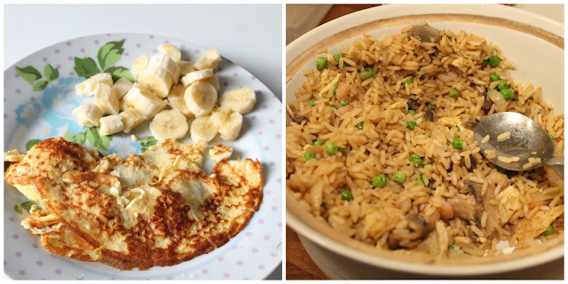 slimming world syn free pancakes with banana and big bowl of prawn fried rice