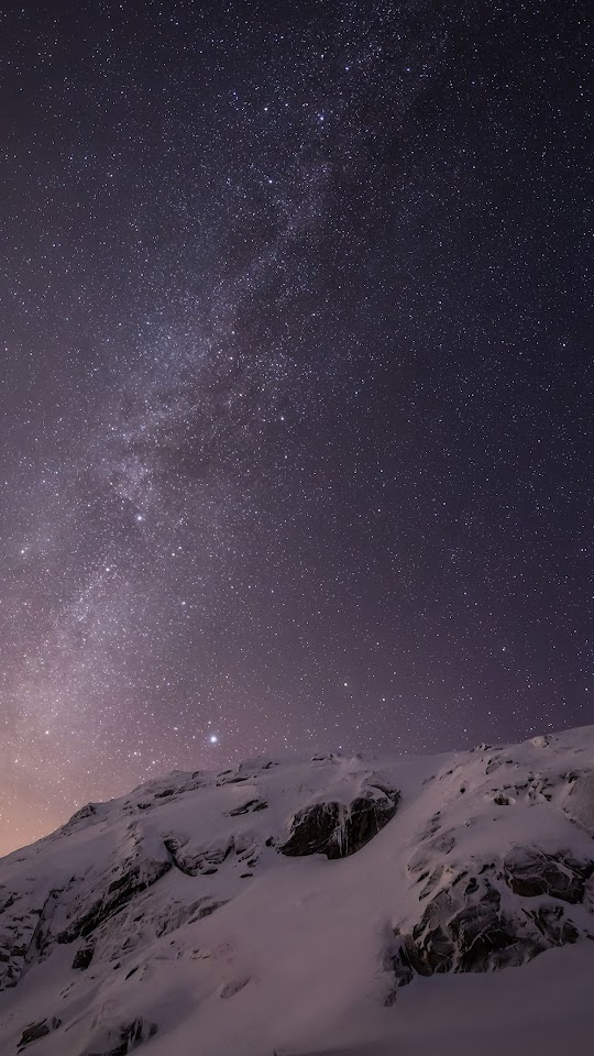 Starry Night Snow Mountain Stars Sky  Galaxy Note HD Wallpaper