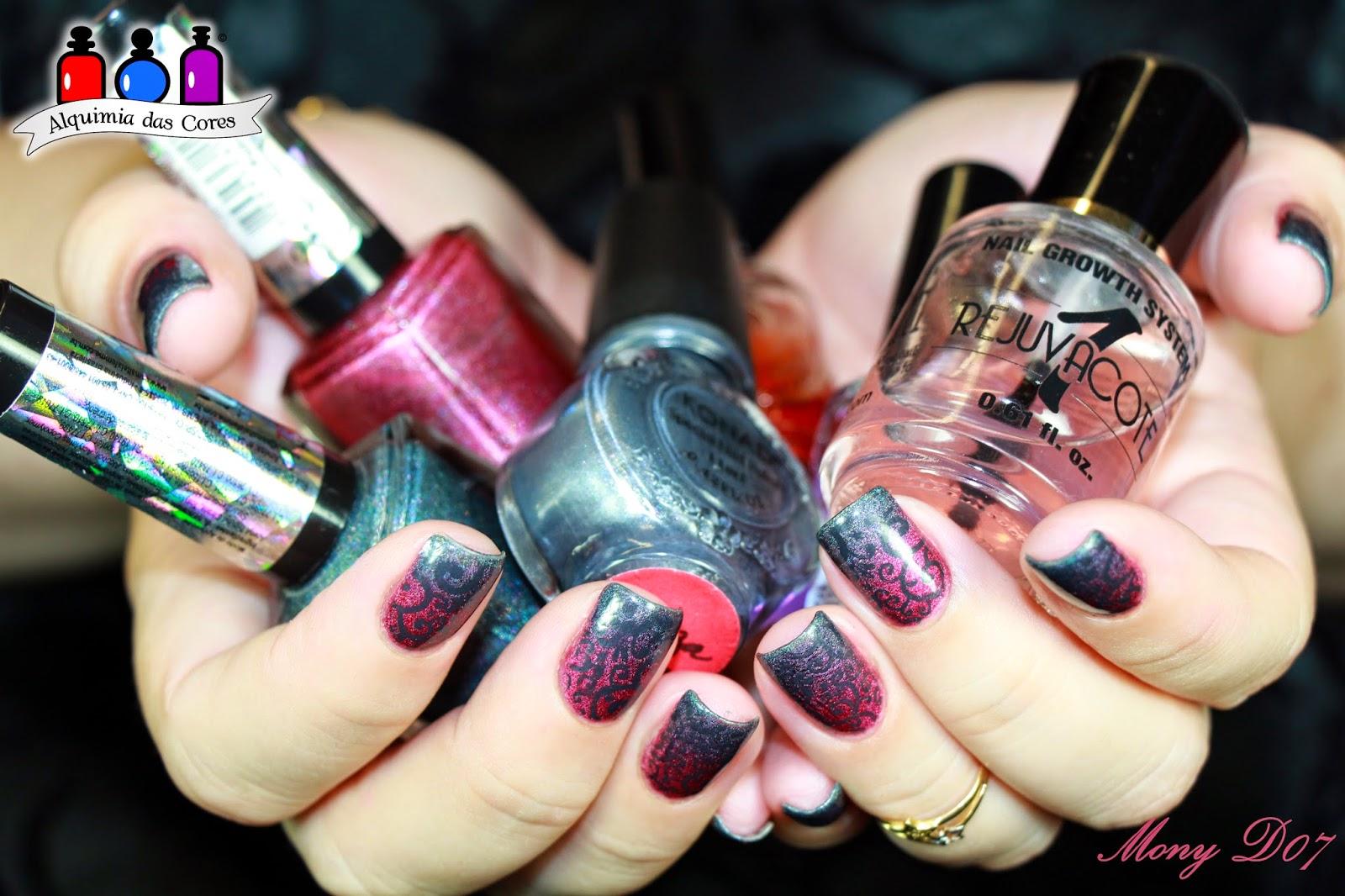 La Femme, Poderosa, Glamorosa, Holográfico, Grafite, Magenta, Konad, HêHê, carimbada, Degrade, nail art, Gradient Nail, Mony D07, Simone D07,