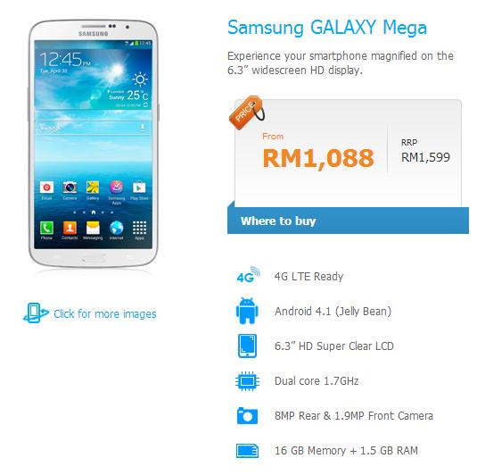 Celcom tawarkan Samsung Galaxy Mega serendah RM1,088
