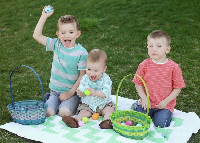 Easter egg hunt poses