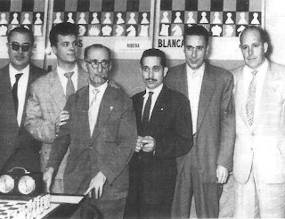 Los ajedrecistas Cherta, Anguera, Gil, Beltrán, Albareda y Ribera
