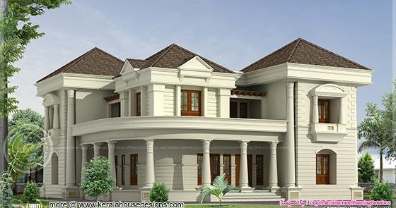 5 bedroom luxurious bungalow floor plan and 3d view for Small bungalow images in india