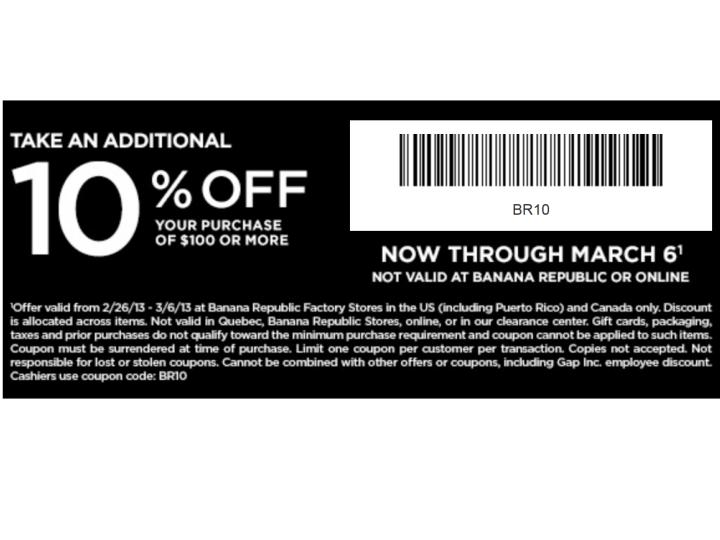 Banana republic outlet coupon us weekly