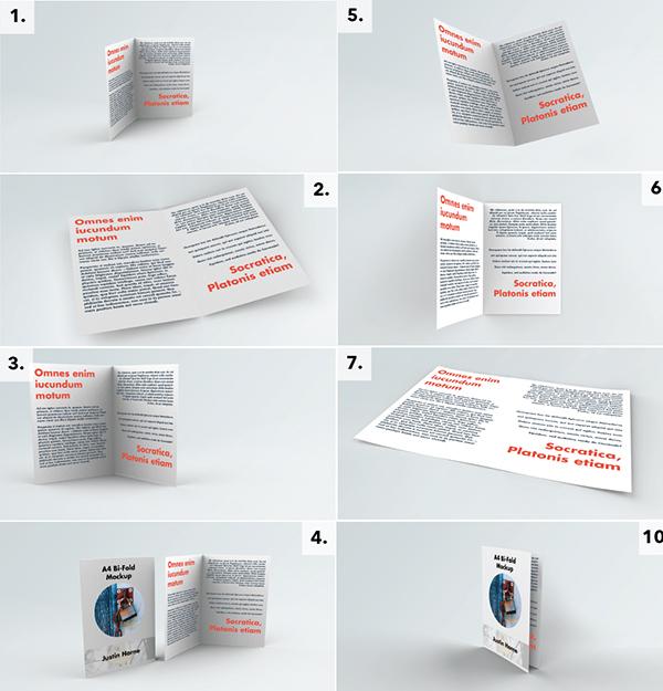 Download Gratis Mockup Majalah, Brosur, Buku, Cover - 14 View Bi-Fold A4 Brochure / Leaflet Mockup