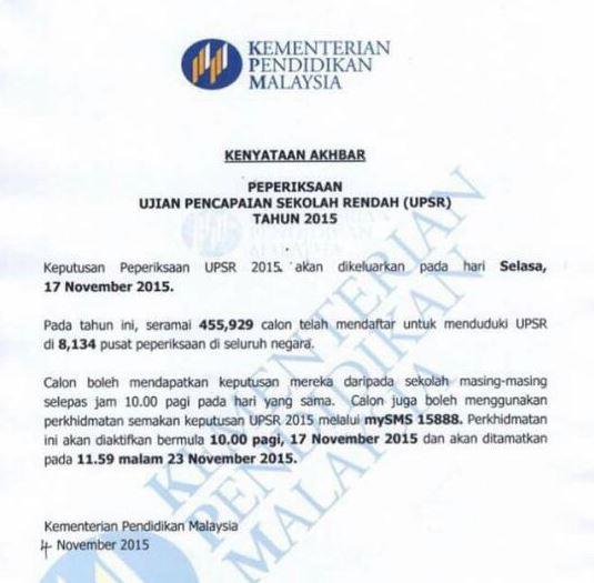Semak Keputusan UPSR 2015 SMS – Selasa 17 November 2015
