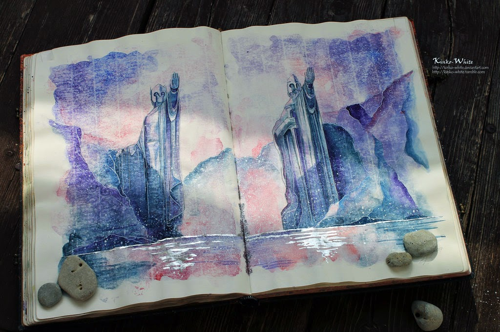 18-The-Gates-of-Argonath-Kinko-White-The-Hobbit-Watercolors-www-designstack-co