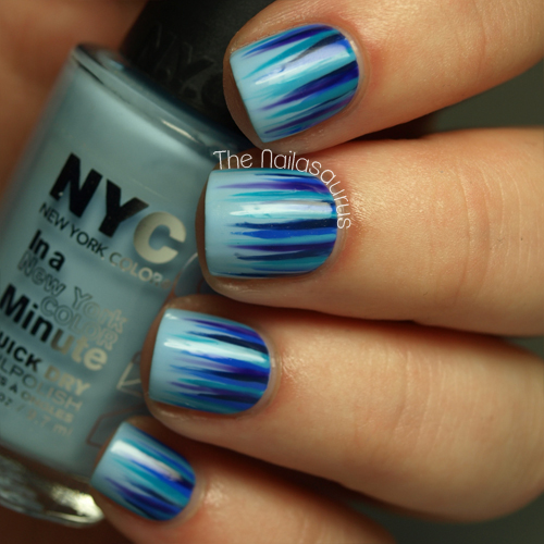 blue waterfall nail art - nailasaurus