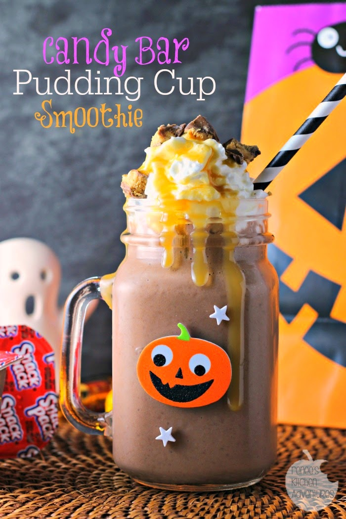 Candy Bar Pudding Cup Smoothie: fun and wholesome at the same time! #shop #snackpackmixins
