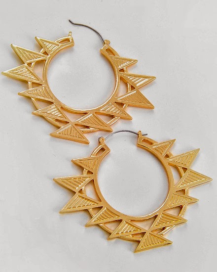 aztec design gold hoop earrings