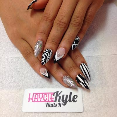 Black And White Stiletto Nail Designs
