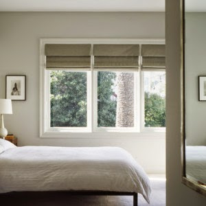 Roman blinds in bedroom
