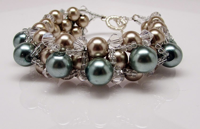 Handmade pale green and taupe glass pearl bracelet