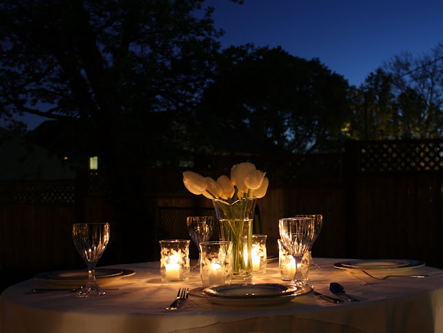 crafts for dinner parties: white – etched glass votives