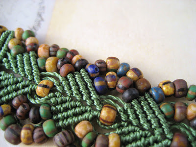 Macrame with Czech glass beads with picasso finish