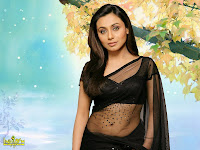 Hot Rani Mukharji in Black transparent saree
