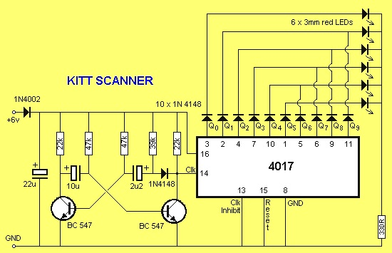 4017 Cmos Decade Counter on knight rider circuit diagram