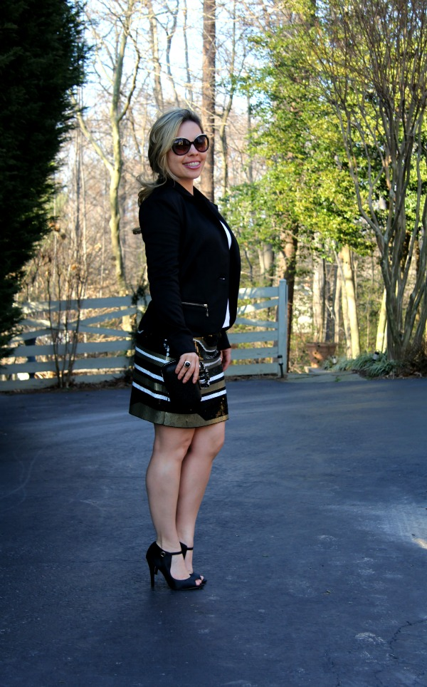 Sequin skirt - Express, White T - Forever 21, Black Blazer - Nordstrom, Black Pumps - Nordstrom Rack, Silver and Black Onyx Ring - David Yurman, Angled Enamel Sunglasses - MARC by Marc Jacobs