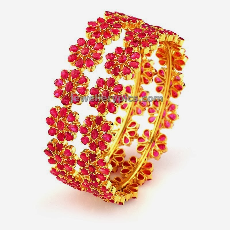 floral ruby gold bangles at grt jewels