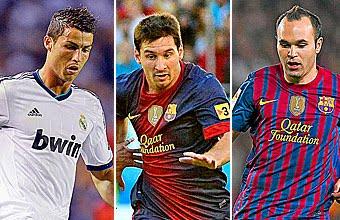 Cristiano, Messi e Iniesta lucharán por el `balón de oro´ de la UEFA
