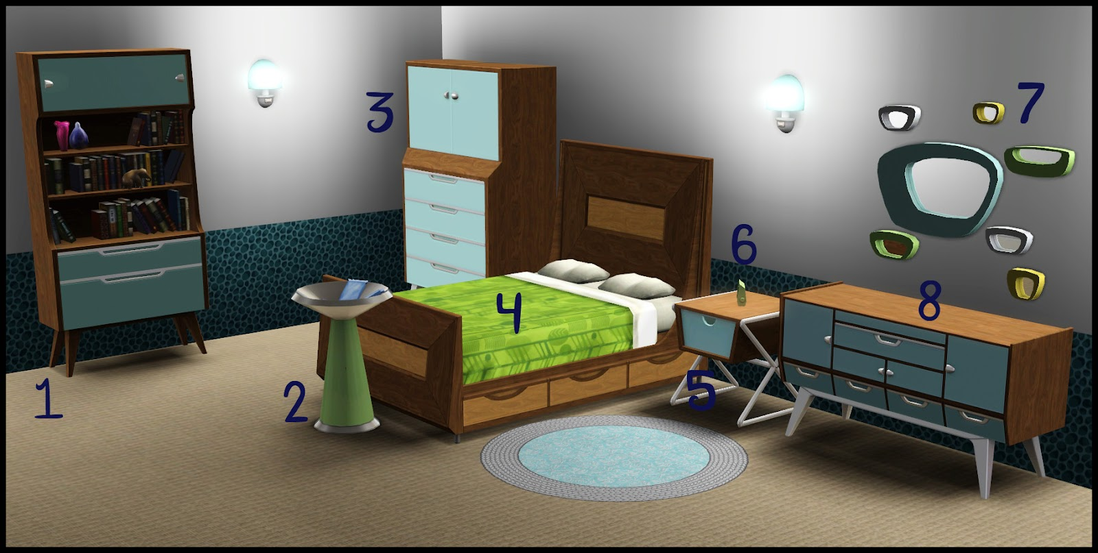 Nightdove sims store a mid century modern trailblazer set Mid century modern bedroom set