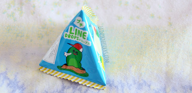 A small but cute snack in the September 2015 Skoshbox DEKAbox was the bag of Line drops hard candy, with illustrations of Japanese Line characters.