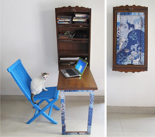 blue computer table