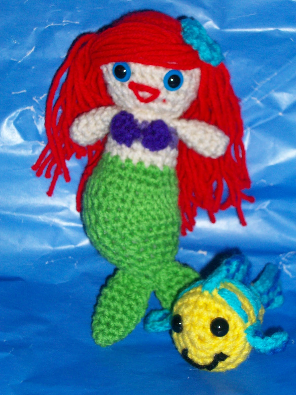 My Crocheted World: Little Mermaid and Flounder Free Crochet Patterns!!