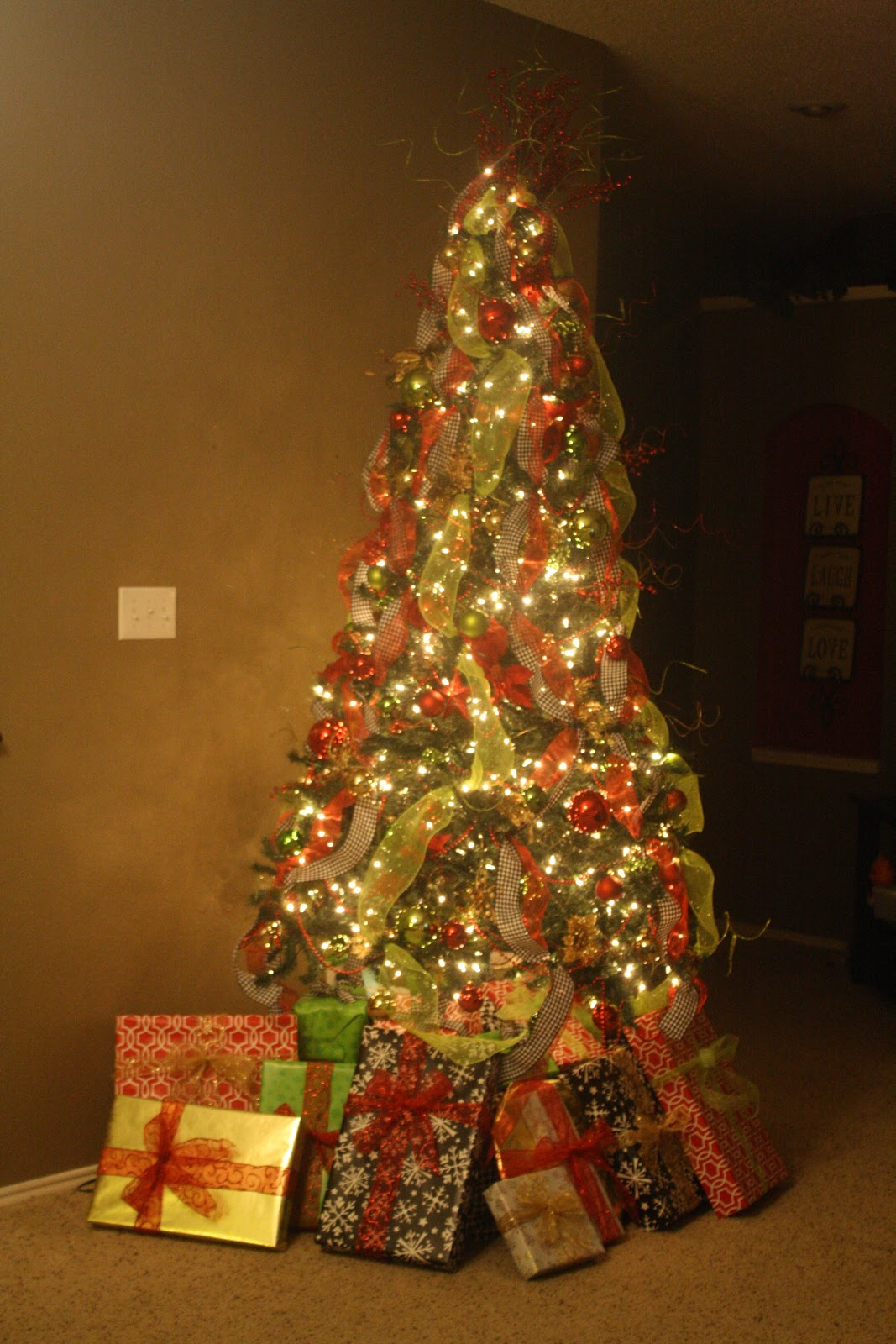 Hobby lobby glass ornaments - I Went With A Houndstooth Ribbon And Green Mesh Ribbon That I Got At Hobby Lobby For 50 Off I Also Added Lots Green Glass Ball Ornaments That I Got At