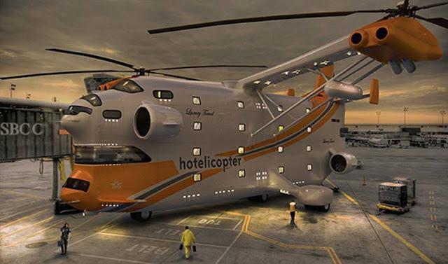 لأول مرة فندق طائر في الهواء : طائرة هليكوبتر بها فندق 5 نجوم متكامل