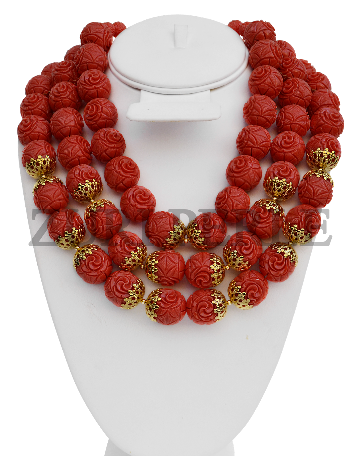 ORANGE CARVED CORAL NECKLACE