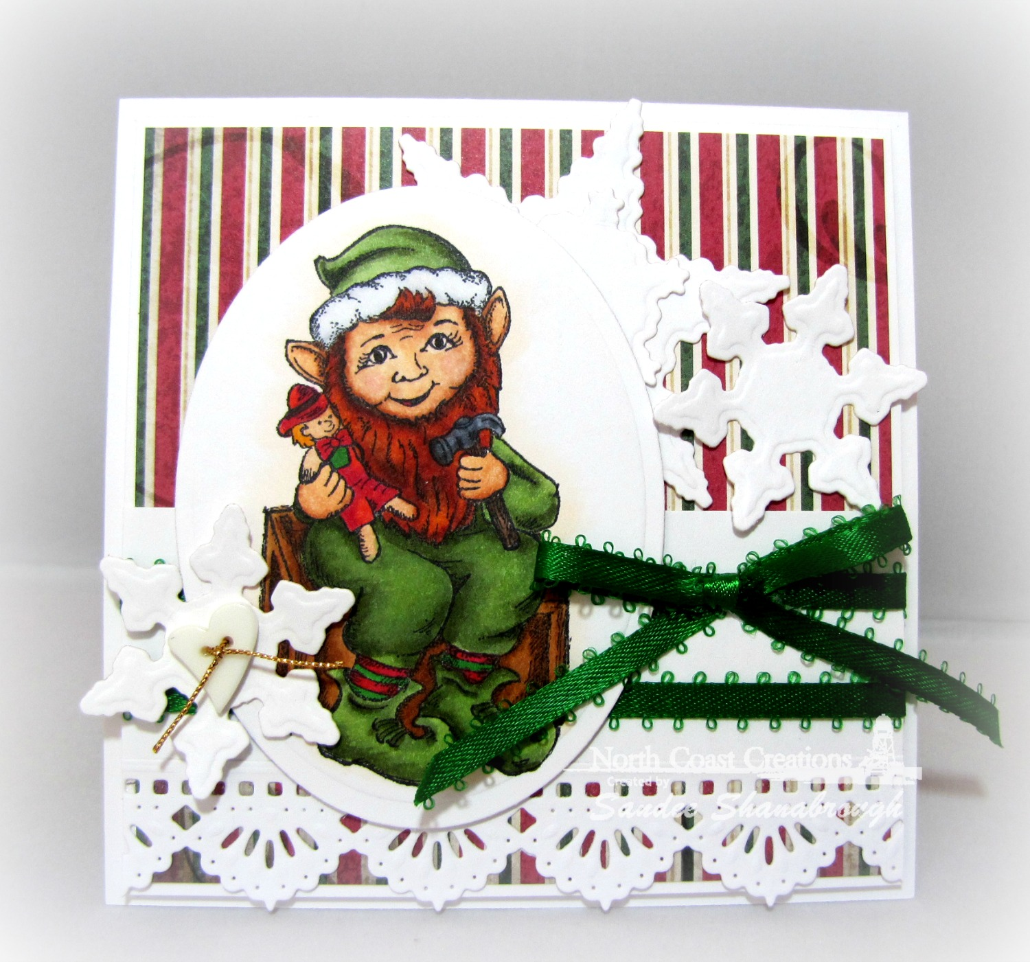 Stamps - North Coast Creations Elf, ODBD Custom Beautiful Borders Dies, ODBD Custom Snowflakes Dies, ODBD Christmas Paper Collection 2013